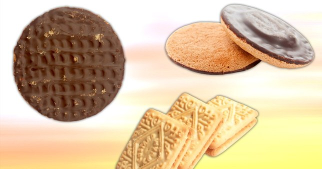 chocolate biscuit, jaffa cake, and custard cream