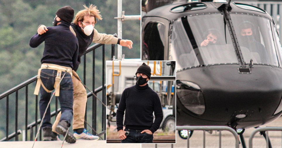 Tom Cruise and a stuntman filming for Mission: Impossible 7
