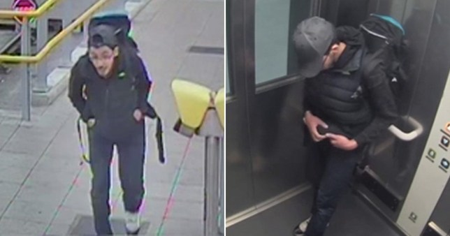 Salman Abedi seen on CCTV with a rucksack and adjusting his wiring.