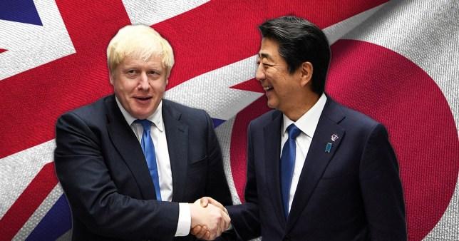 Photograph of Boris Johnson and  Shinzo Abe