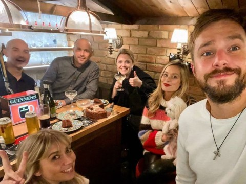 Love Island's Laura Whitmore and Iain Stirling build a pub in their back garden
