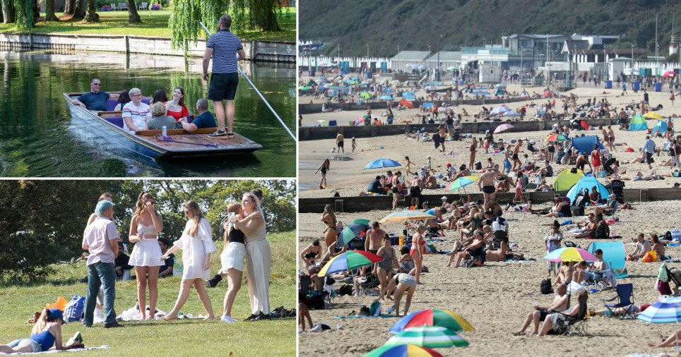 Composite showing busy beaches and parks after the new set of six rules came into force