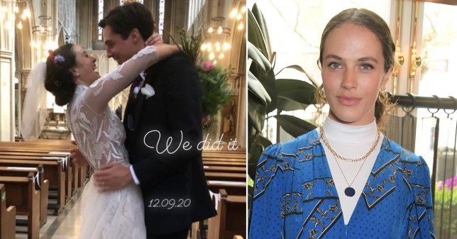 Jessica Brown Findlay pictured with Ziggy Heath moments after marrying