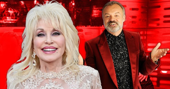 Graham Norton pictured separately alongside Dolly Parton