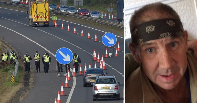 Police closing off section of M8 motorway as they search for missing  Billy McDowell, from Whitburn, West Lothian (pictured right)