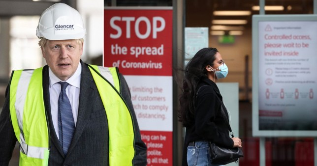 Boris Johnson / woman in mask near coronavirus warning sign