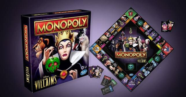 new monopoly Disney villains on colourful background