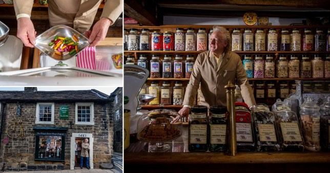 Composition of two photographs showing the oldest sweet shop in the UK and some of its sweets