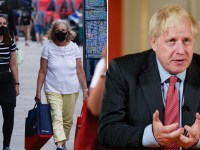 Two women wearing face masks in the street and Boris Johnson' address to the Nation during Covid-19 on September 22, 2020