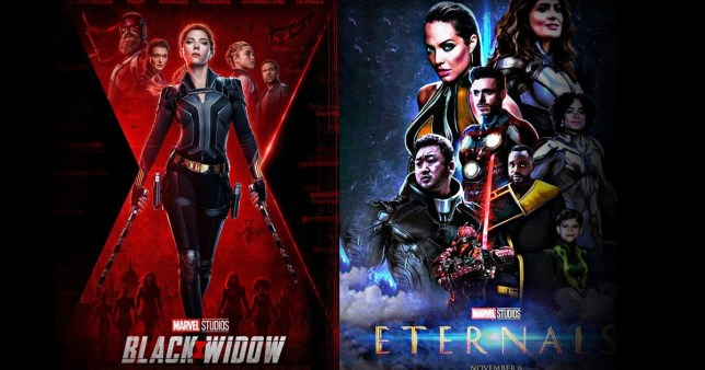 Black Widows and Eternals movie posters