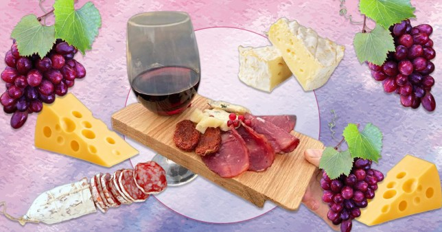 Etsy cheese board and wine holder