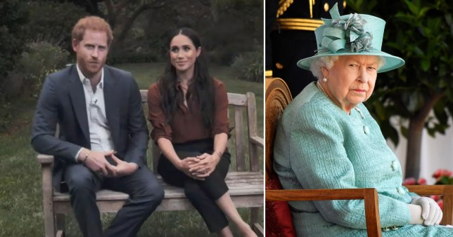Composite image of Prince Harry and Meghan Markle and Queen Elizabeth