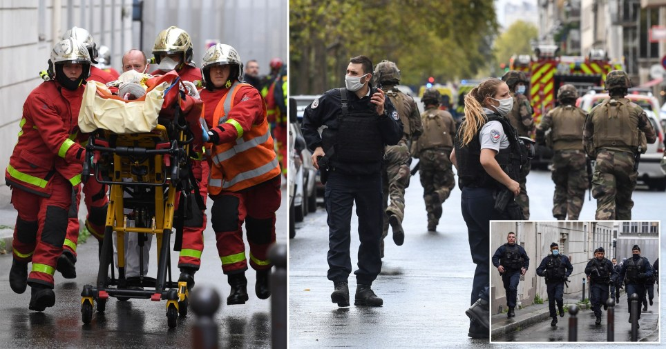 Police and emergency services on the streets of Paris after the attack near former Charlie Hebdo office
