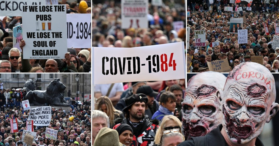Thousands of anti-lockdown activists chanted 'we will win' as they flouted Government coronavirus restrictions in central London today