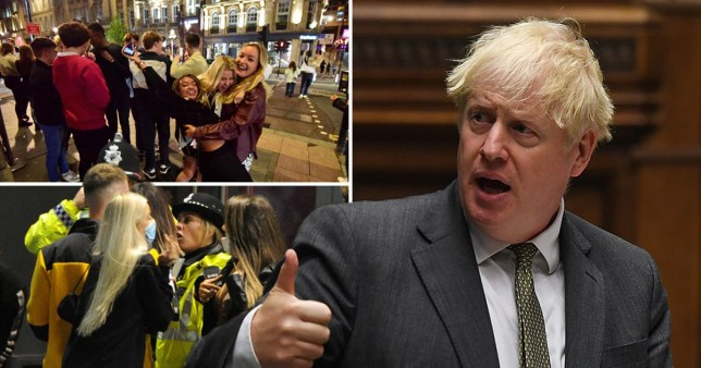 Composite image Boris Johnson and people on a night out in Newcastle