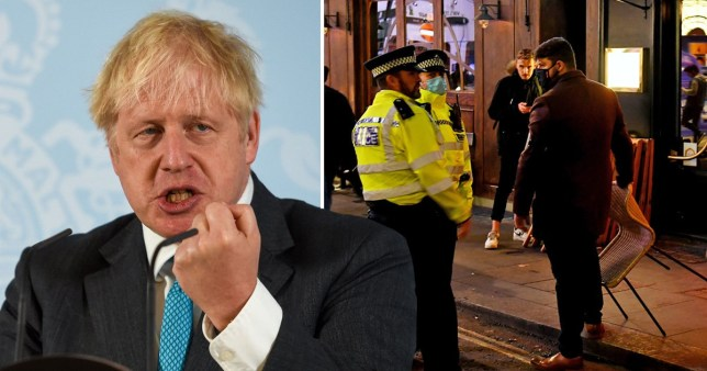 Boris Johnson next to police officers talking to people on the street