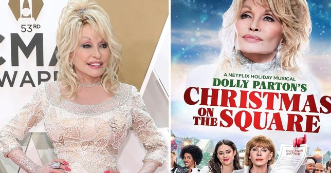 Dolly Parton pictured alongside movie poster for Christmas on the Square
