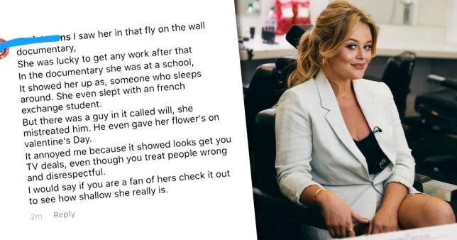 Emily Atack pictured alongside fan message