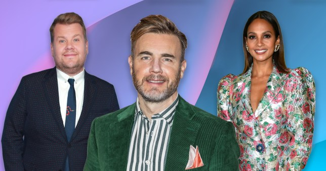 Gary Barlow pictured with James Corden and Alesha Dixon