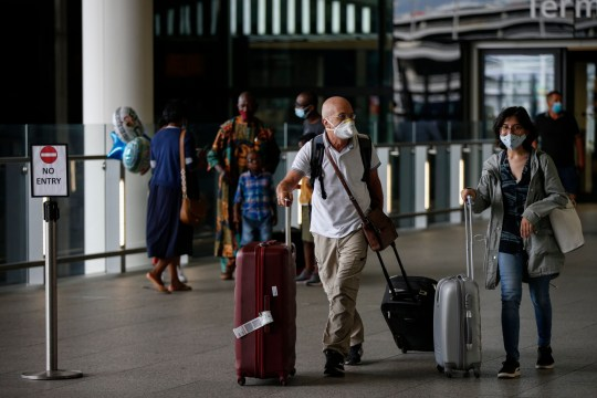 Passengers depart from Heathrow Airport Terminal 2 on August 22, 2020 in London, England. Passengers arriving in England from Austria, Croatia and Trinidad and Tobago had to separate themselves for 14 days by 4am on Saturday.