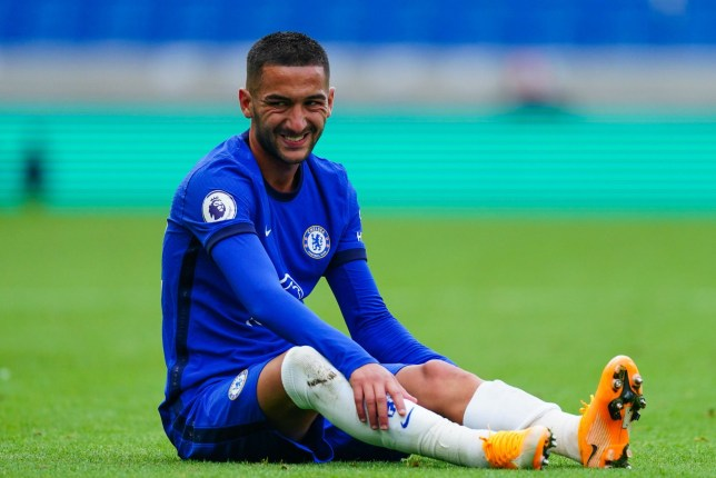 Hakim Ziyech will miss Chelsea's clash with Brighton due to a knee injury