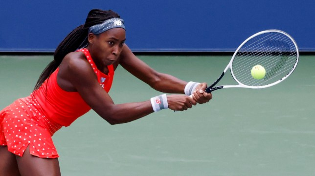 epa08638005 Cori 'Coco' Gauff of the US hits a return to Anastasija Sevastova of Latvia during their match on the first day of the US Open Tennis Championships the USTA National Tennis Center in Flushing Meadows, New York, USA, 31 August 2020. Due to the coronavirus pandemic, the US Open is being played without fans and runs from 31 August through 13 September. EPA/JASON SZENES