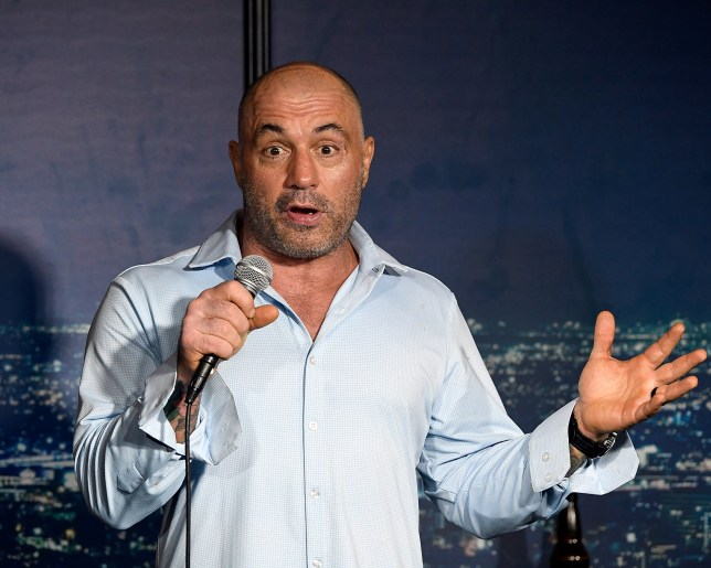 Joe Rogan performs on stage.