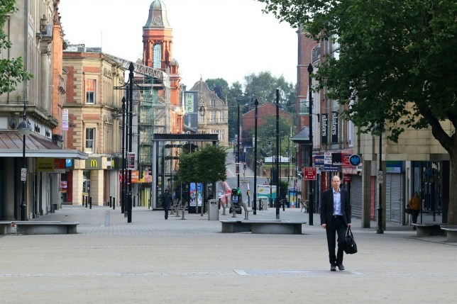 A man in Bolton town centre