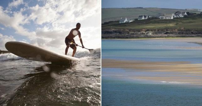 Paddleboarder  and Rock Beach Cornwall