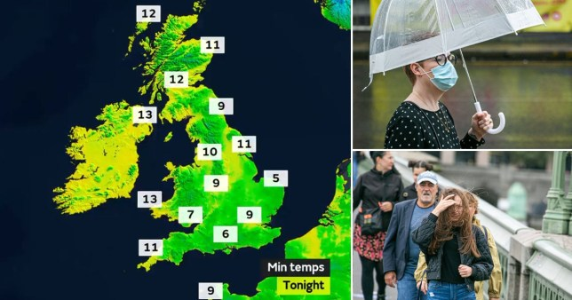Summer is over as temperatures plunge to 5C Pics: PA/Rex/Met Office