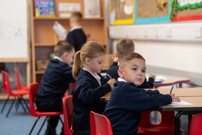 Children in class on the first day back to school at Arbours Primary Academy in Northampton