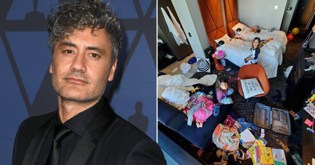 Taika Waititi self-isolating in hotel room with two daughters (Picture: Getty, @taikawaititi/Instagram)
