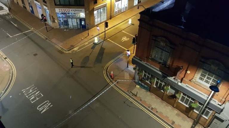 Picture taken with permission from the Twitter feed of @ShaunInBrum showing a cordon after reports of multiple stabbings in Birmingham in the early hours of Sunday. PRESS ASSOCIATION Photo. Picture date: Sunday September 6, 2020. See PA story POLICE Birmingham. Photo credit should read: @ShaunInBrum/PA Wire