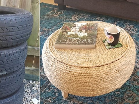 Mum makes swanky coffee table from old car tyres and people can't get enough