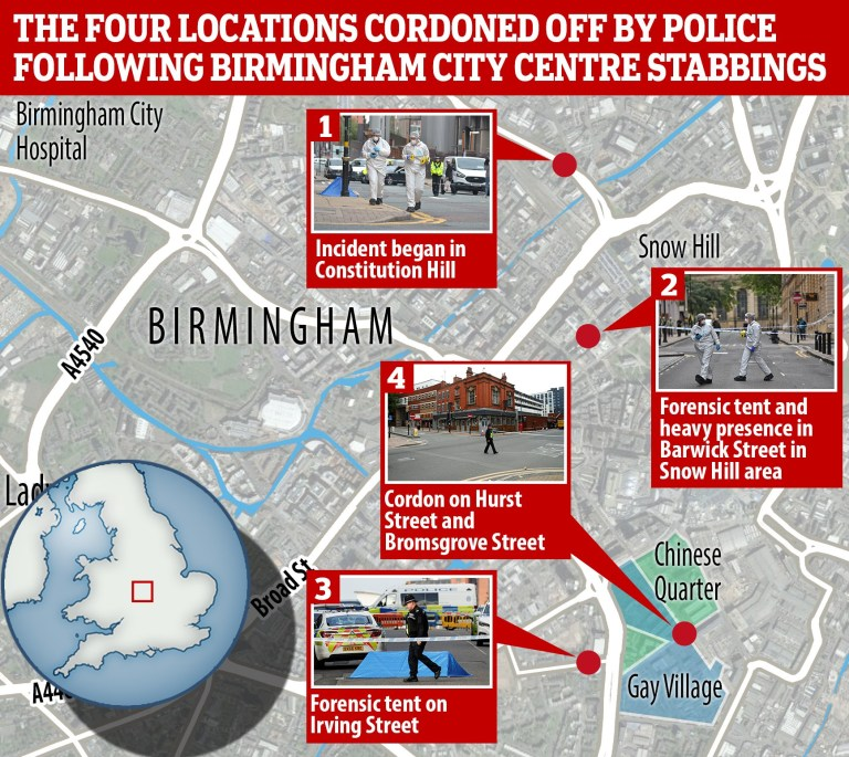 Map showing the four city centre locations where attacks happened