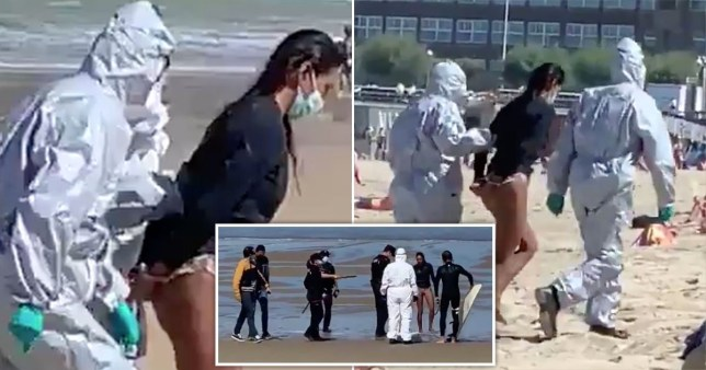 Composition of three photos showing a woman being arrested on the beach