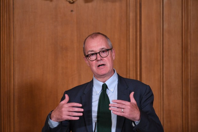 Chief Scientific Adviser Sir Patrick Vallance attends a virtual press conference at Downing Street on September 9, 2020 in London, England. As from Monday September 14, people in England will only be allowed to socialise in groups of six or less people following the announcement from the Prime Minister.
