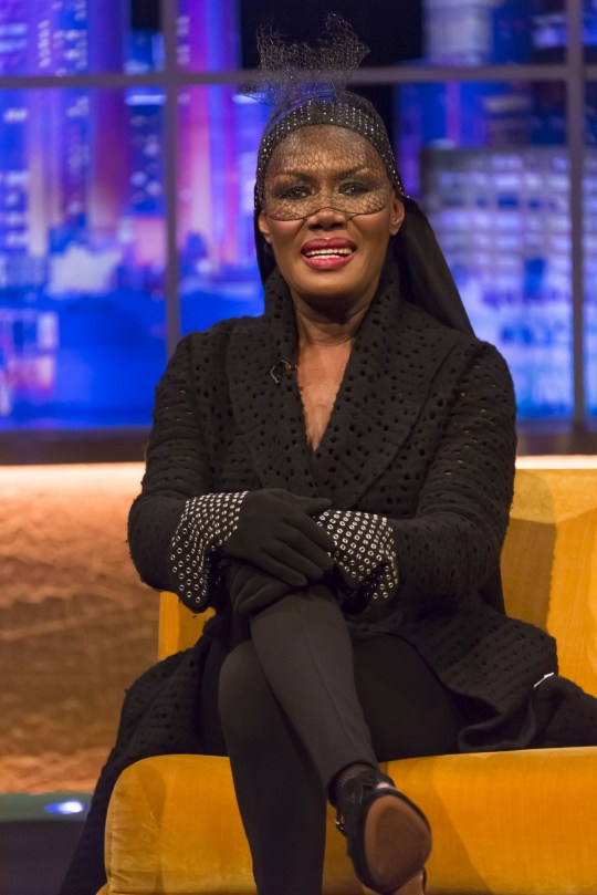 Mandatory Credit: Brian J Ritchie / Hotsauce Editorial Use Only Mandatory Credit: Photo by Brian J Ritchie / Hot Sauce / REX (9212956cj) Grace Jones 'The Jonathan Ross Show', London, UK - 11 Nov 2017