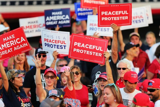 President Donald Trump supporters rally prior to the start of a political rally at the Minden-Tahoe Airport in Minden, Nevada, Saturday, Sept. 12, 2020.