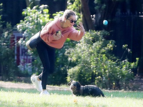 Game of Thrones star Emilia Clarke takes her dog for a run after night out with The Crown's Matt Smith