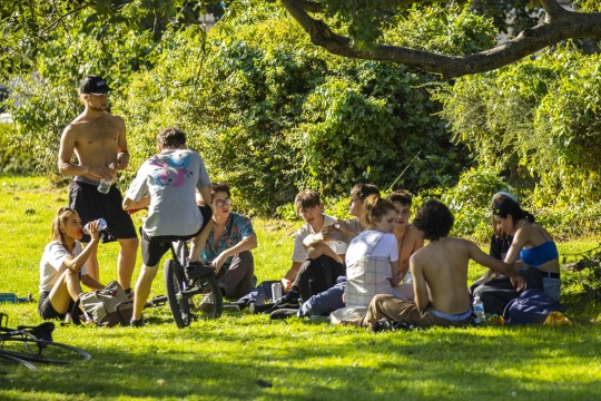 A large group of young people gather in St George Park. Bristol. September 14, 2020. Today is the first day of the new coronavirus laws which prohibit the mixing of groups of more than 6 people.