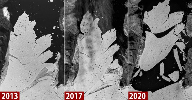 80km long lice shelf breaks off Greenland glacier Pictures: Reuters