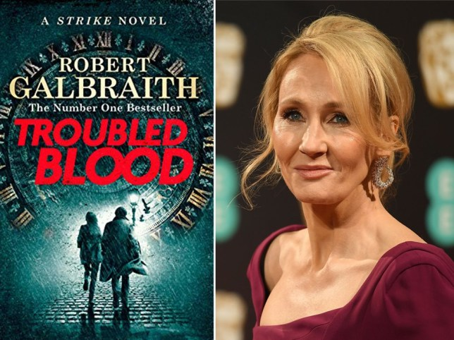 Left hand side: the cover of JK Rowling's new book Troubled Blood. Right hand side: JK Rowling.