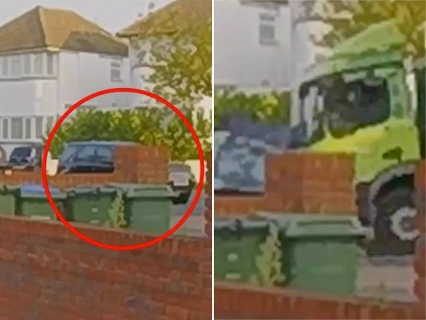 Horrific moment bin lorry smashes into cars and house killing driver, 29