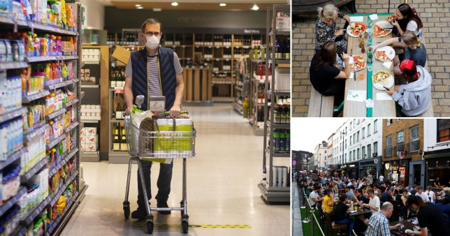 Composite image of people in supermarkets and pubs