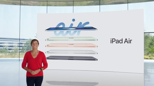 Apple's vice president of Hardware Engineering Laura Legros unveils the all-new iPad Air during a special event at the company's headquarters of Apple Park in a still image from video released in Cupertino, California, U.S. September 15, 2020. Apple Inc/Handout via REUTERS. NO RESALES. NO ARCHIVES THIS IMAGE HAS BEEN SUPPLIED BY A THIRD PARTY.