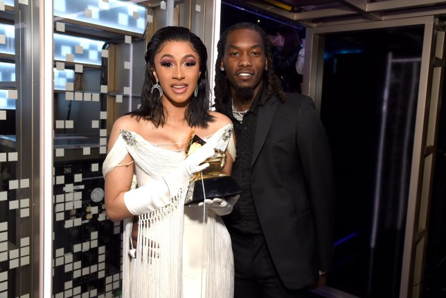 Cardi B, winner of Best Rap Album for 'Invasion of Privacy,' and Offset pose backstage during the 61st Annual GRAMMY Awards at Staples Center on February 10, 2019 in Los Angeles