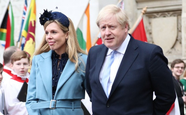 Boris Johnson and Carrie Symonds leaving Westminster Abbey