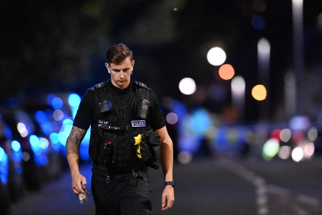 A major incident on Albert Road, Plymouth, is sealed off to the public late on Saturday evening, as the police helicopter is deployed. September 19, 2020. Picture: Matt Gilley/Plymouth Live.