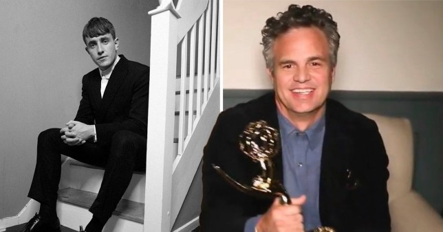 Paul Mescal sitting on stairs pictured alongside Mark Ruffalo